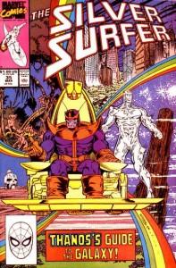 Thanos - netop genopvækket fra de døde i 1990 - og Silver Surfer.