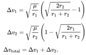 Kolde ligninger i rummet: Hofmann transfer orbit.